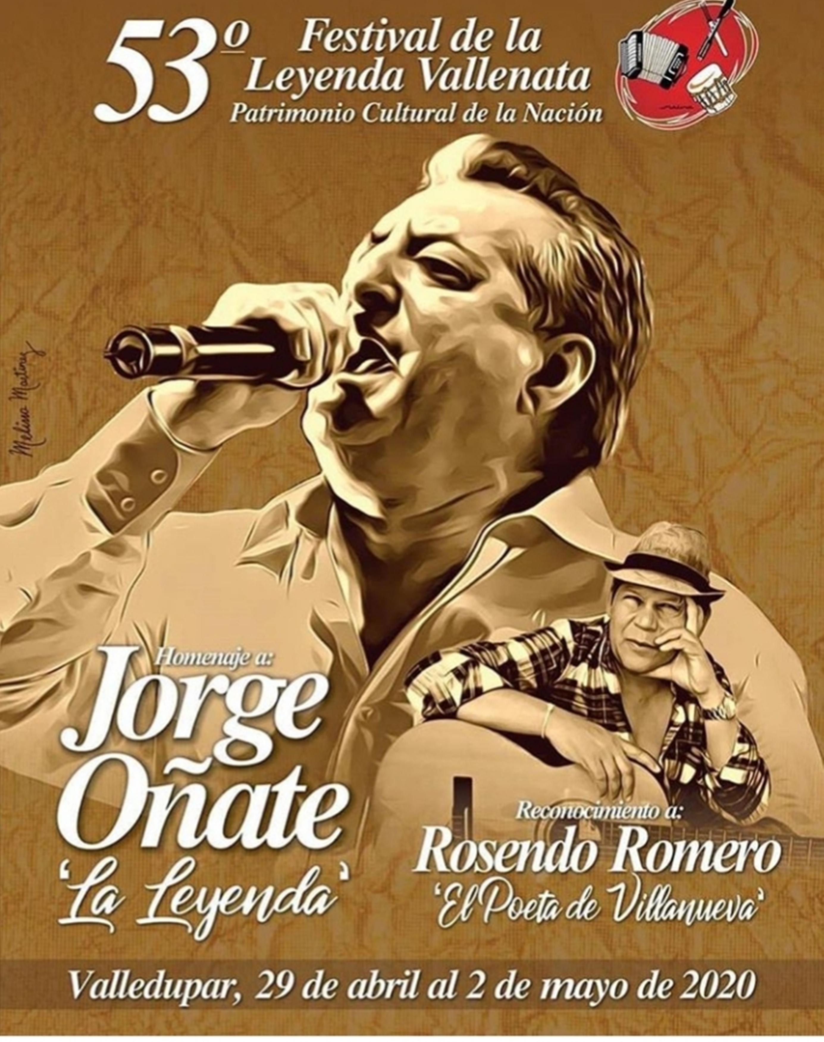 'Los años dorados del vallenato', afiche promocional del 53° Festival de la Leyenda Vallenata