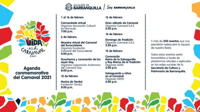 Esta es la agenda virtual del Carnaval de Barranquilla 2021 que empezará este sábado