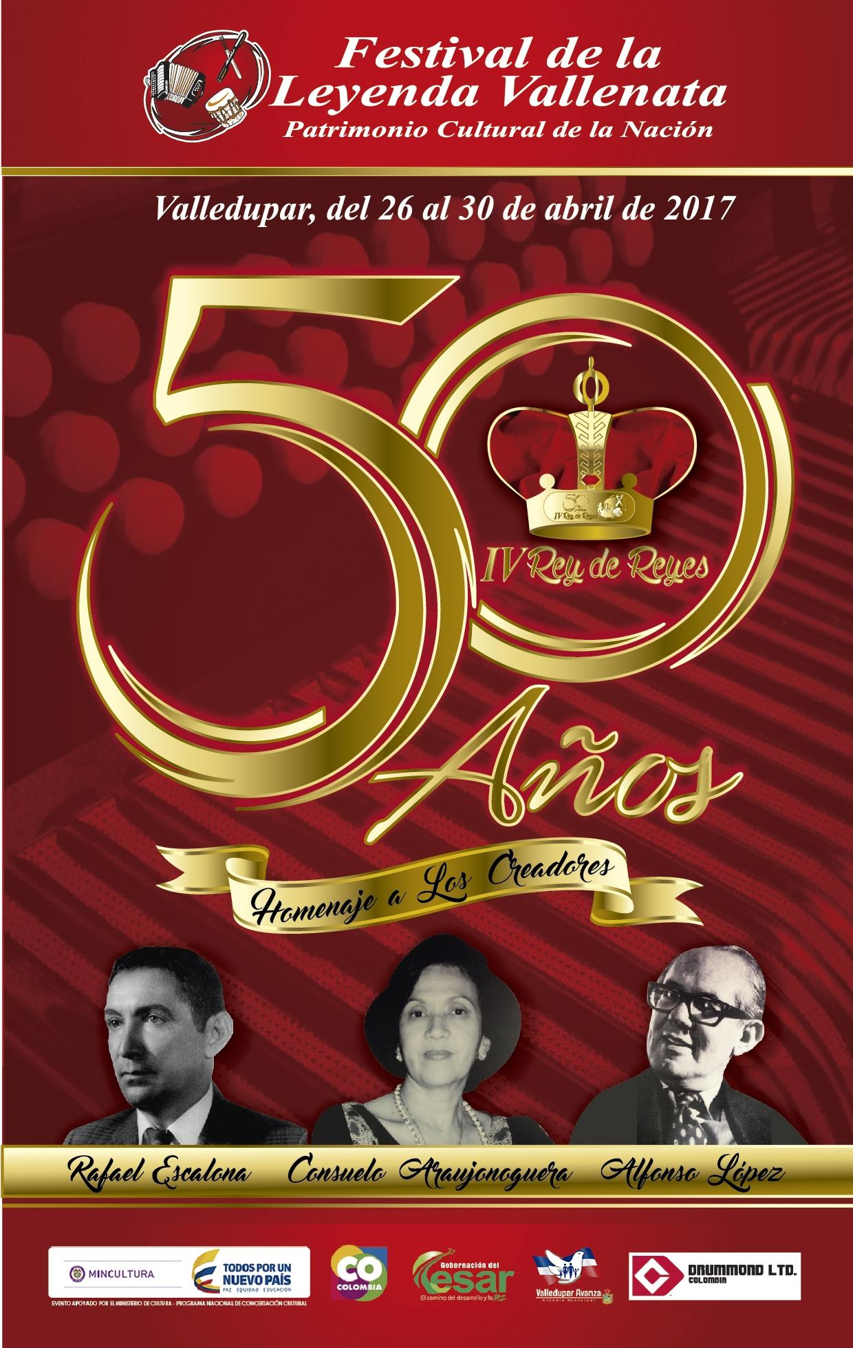 Circula el afiche promocional del 50º Festival de la Leyenda Vallenata/IV Rey de Reyes