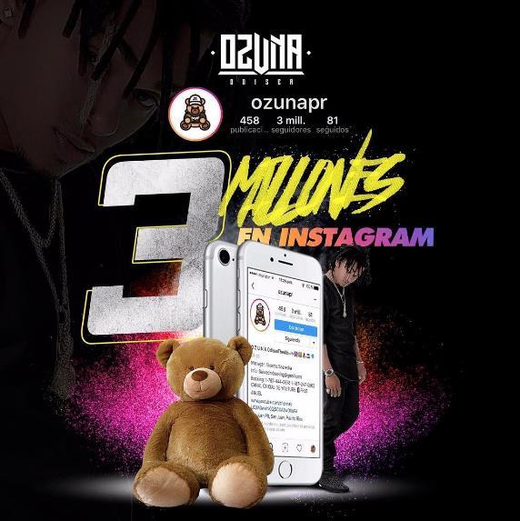 Ozuna y sus 3 millones de seguidores en Instagram