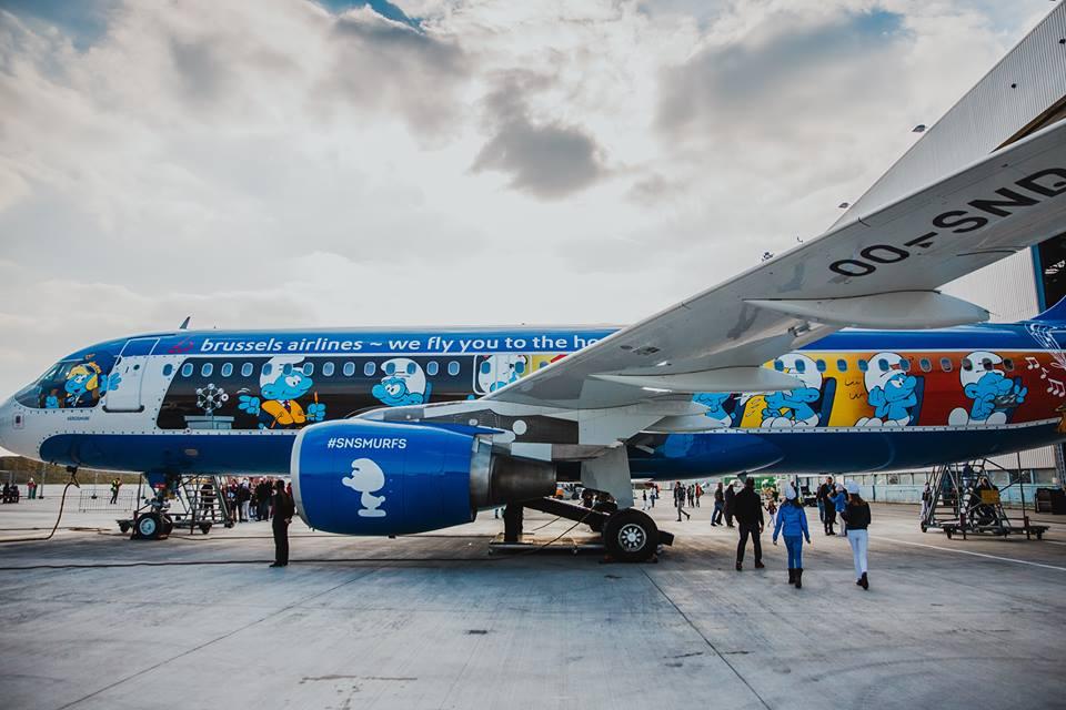 Aerosmurf, el avión de Los Pitufos que transporta a los equipos belgas