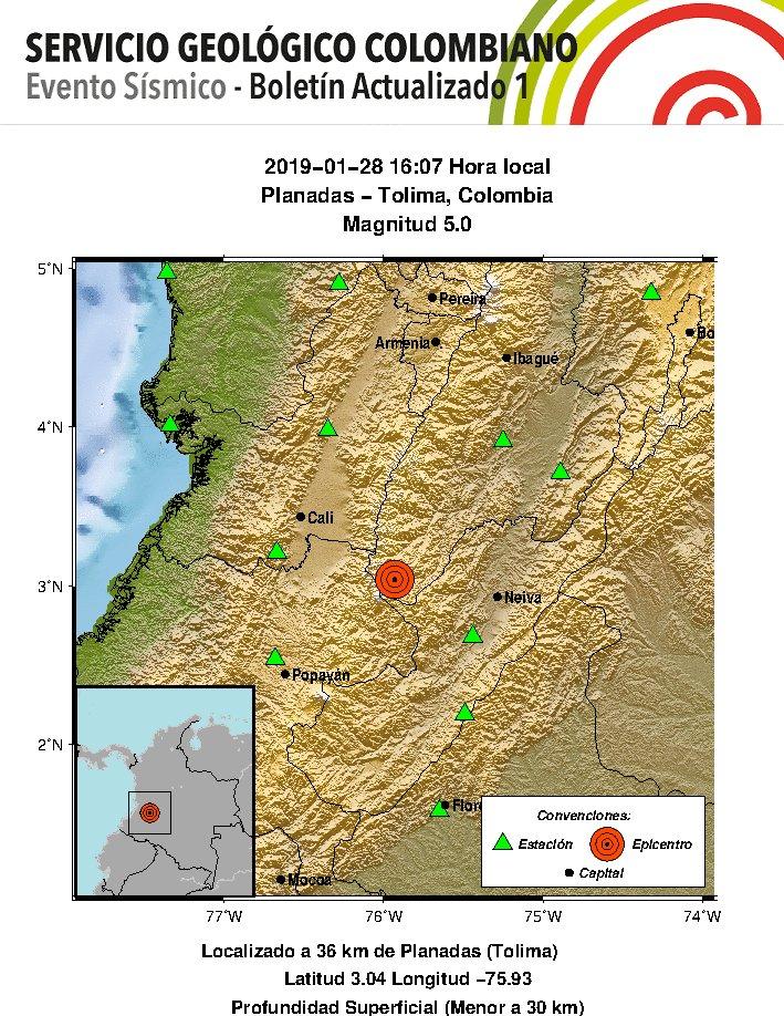 ULTIMA HORA: Sismo en Planadas, Tolima se sintió también en Bogotá y Cali