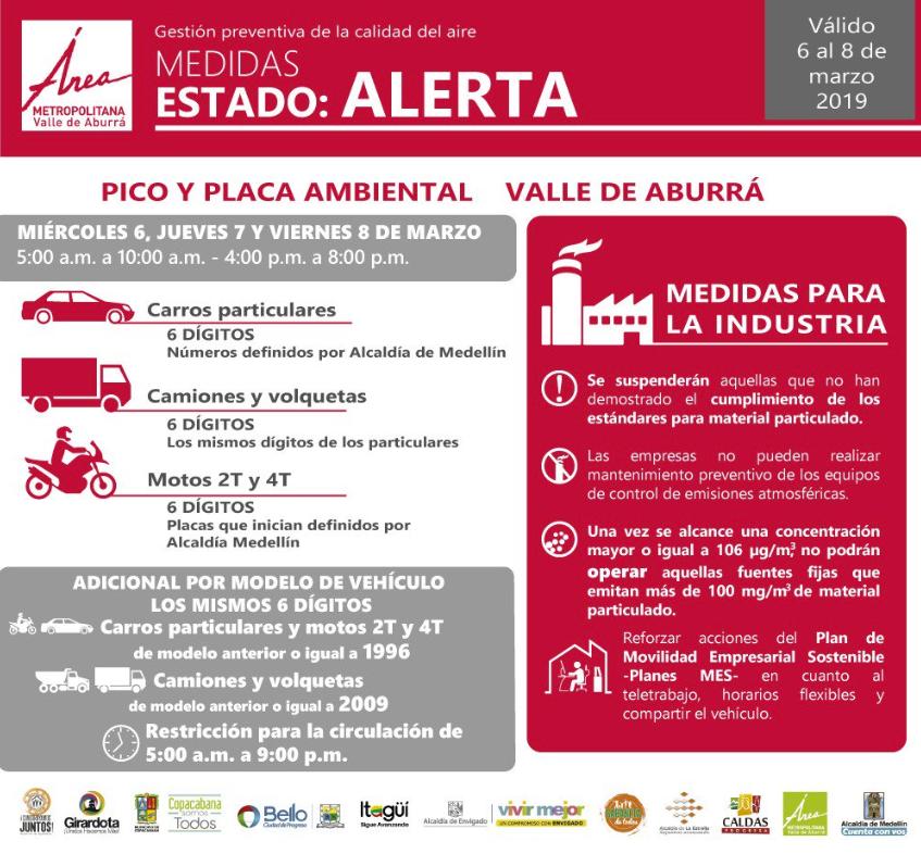 Alerta por calidad de aire en el Valle de Aburrá