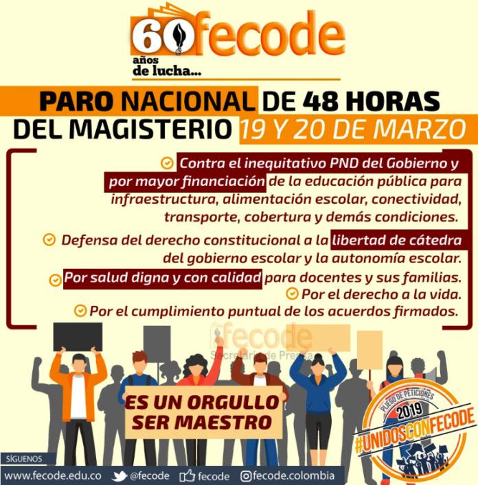 Movilización el 20 de marzo y el Paro Nacional el 25 de abril