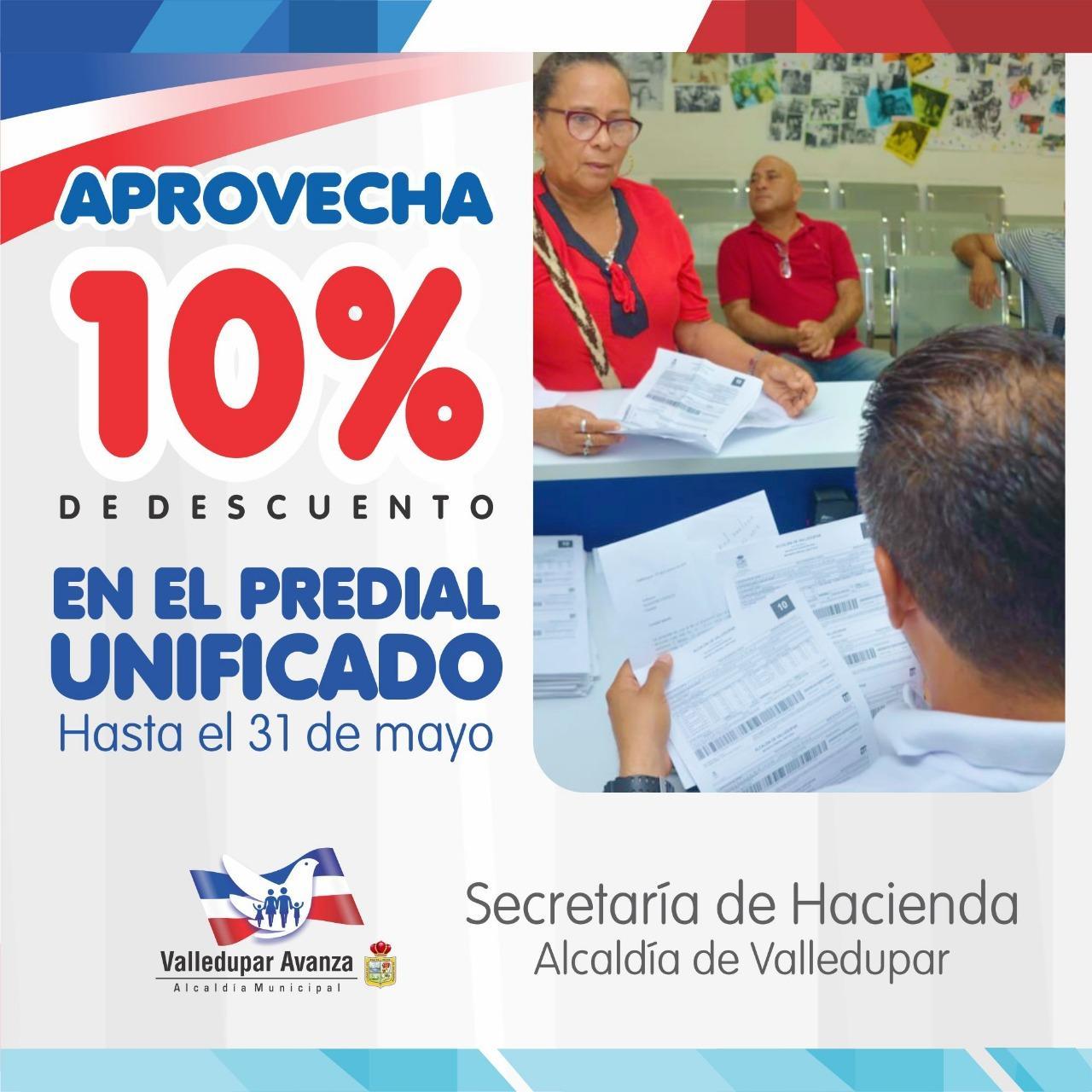 Valledupar: Hasta el 31 de mayo, contribuyentes del Predial cuentan con un 10% de descuento en su obligación