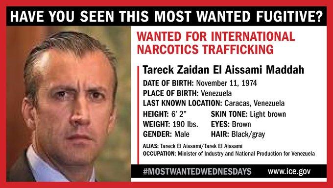 $10 millones de dólares ofrece EEUU por paradero de El Aissami