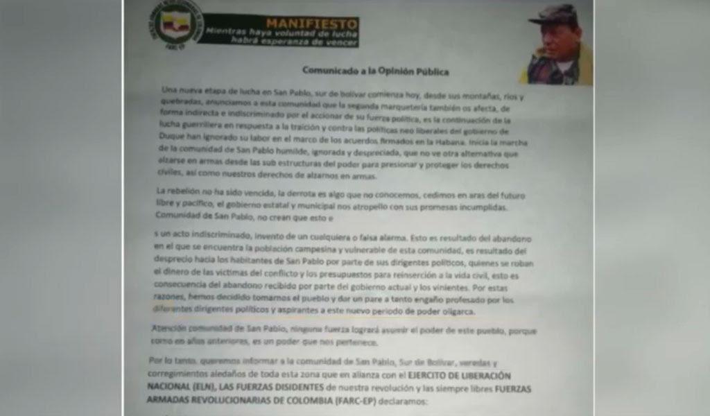 Eln y Farc anuncian paro armado en San Pablo, Bolívar