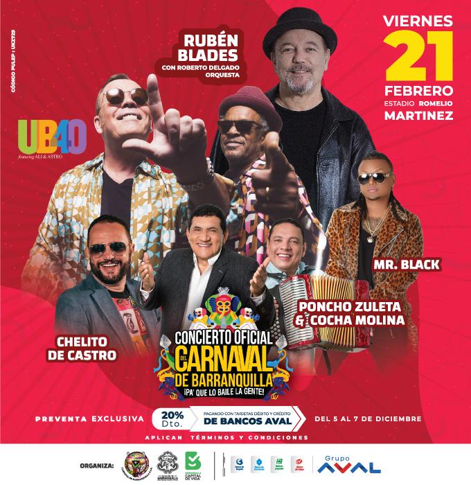 Rubén Blades y UB40, artistas exclusivos del Gran Concierto dellll Carnaval 2020