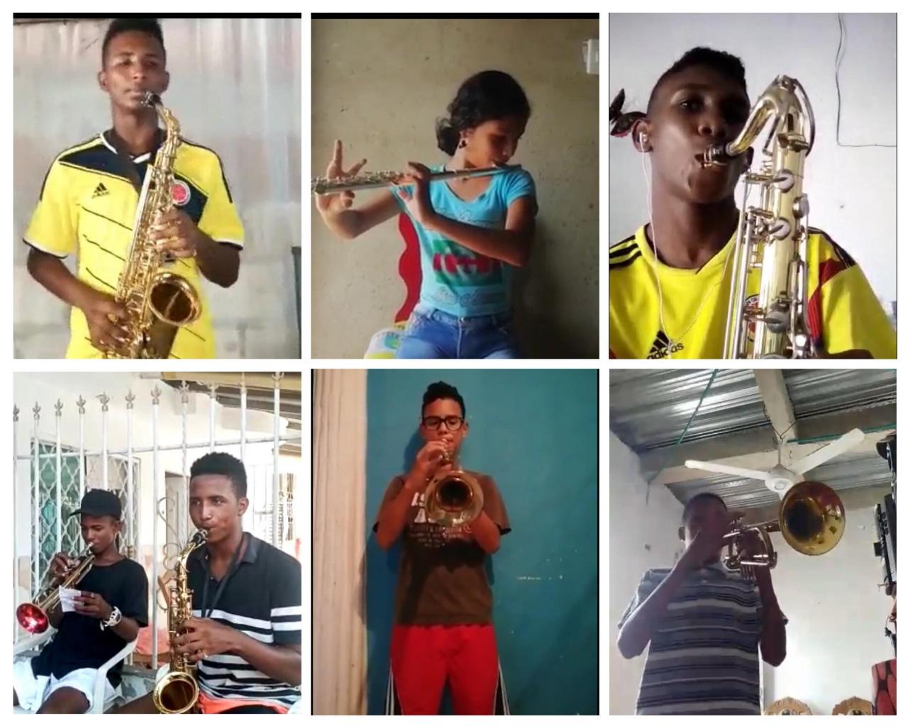 Estudiantes de las bandas de paz de Cartagena practican y realizan videos musicales sin salir de casa