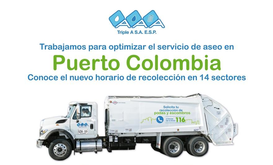 Triple A implementará nuevo horario de recolección de residuos en 14 sectores del municipio de #PuertoColombia @SomosTripleA