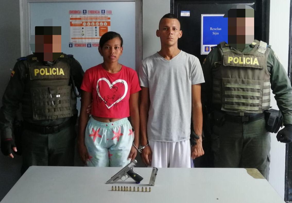 Policía de Barranquilla capturó a una pareja por el delito de porte ilegal de armas de fuego y municiones