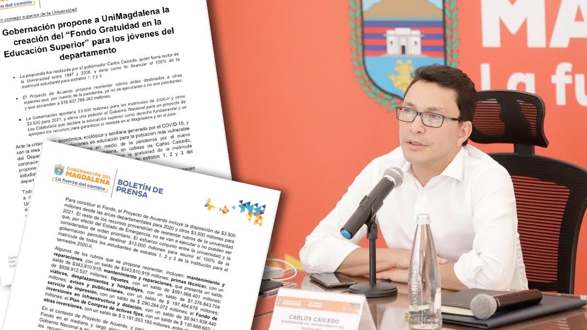 El Gobernador de Magdalena @carlosecaicedo propone financiar las matriculas  de estudiantes universitarios