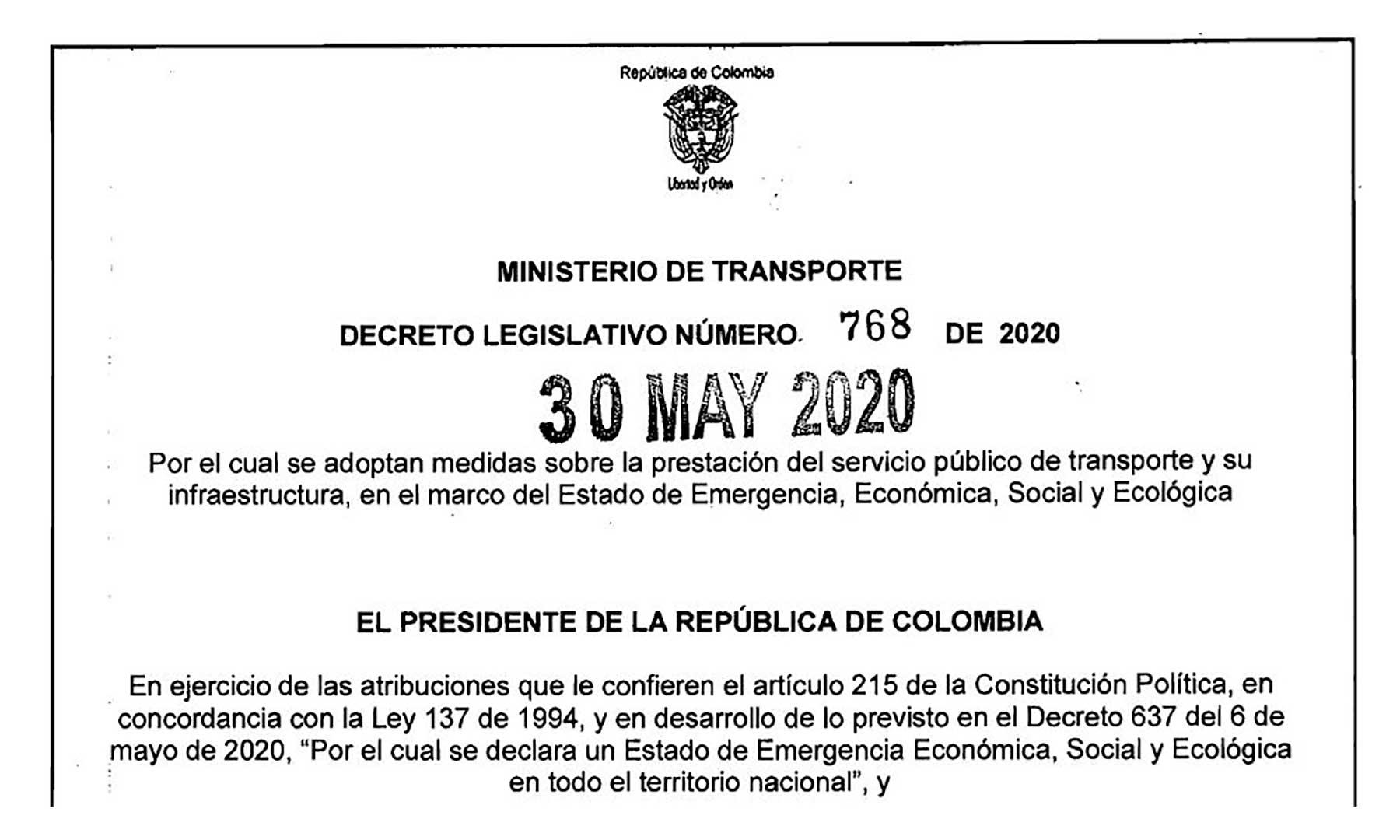 Mediante el decreto 768  se adoptan medias para la prestación en el servicio de transporte y su infraestructura