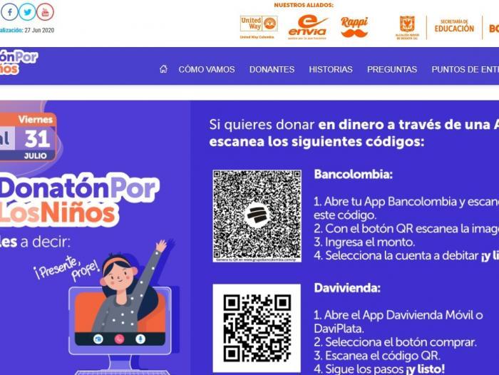La Alcaldía mayor de Bogotá invita a los colombianos a unirse a la Donatón para apoyar los procesos pedagógicos en casa de los estudiantes de la ciudad