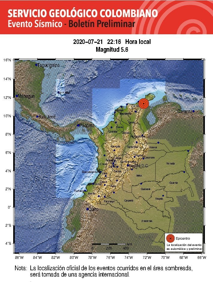 Temblor de magnitud 5.6 sacudió al Cesar y La Guajira