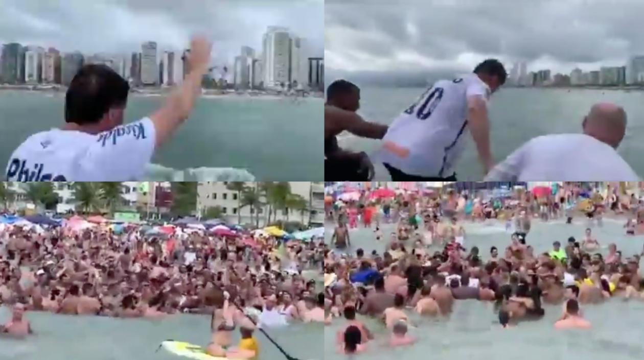 Insólito: Jair Bolsonaro provocó tumulto en una playa de Sao Paulo