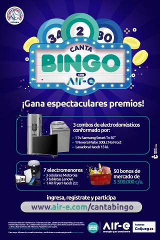 """""""Canta Bingo con Air-e"""" premia a los usuarios puntuales con la factura de energía – @Air_Energia"""