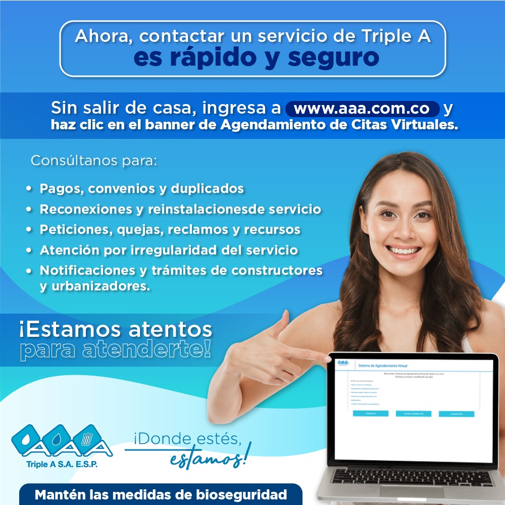 Triple A activa citas virtuales para atender a los usuarios- @SomosTripleA