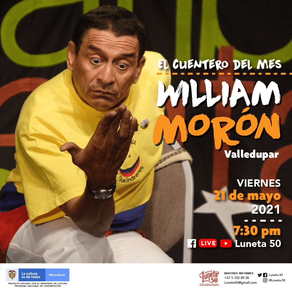"""William Morón, humor caribe en escena, """"El cuentero del mes"""" en Luneta 50  – @Luneta50"""