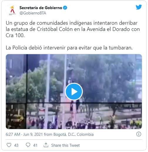 Indígenas Misak intentan derribar estatua en Bogotá