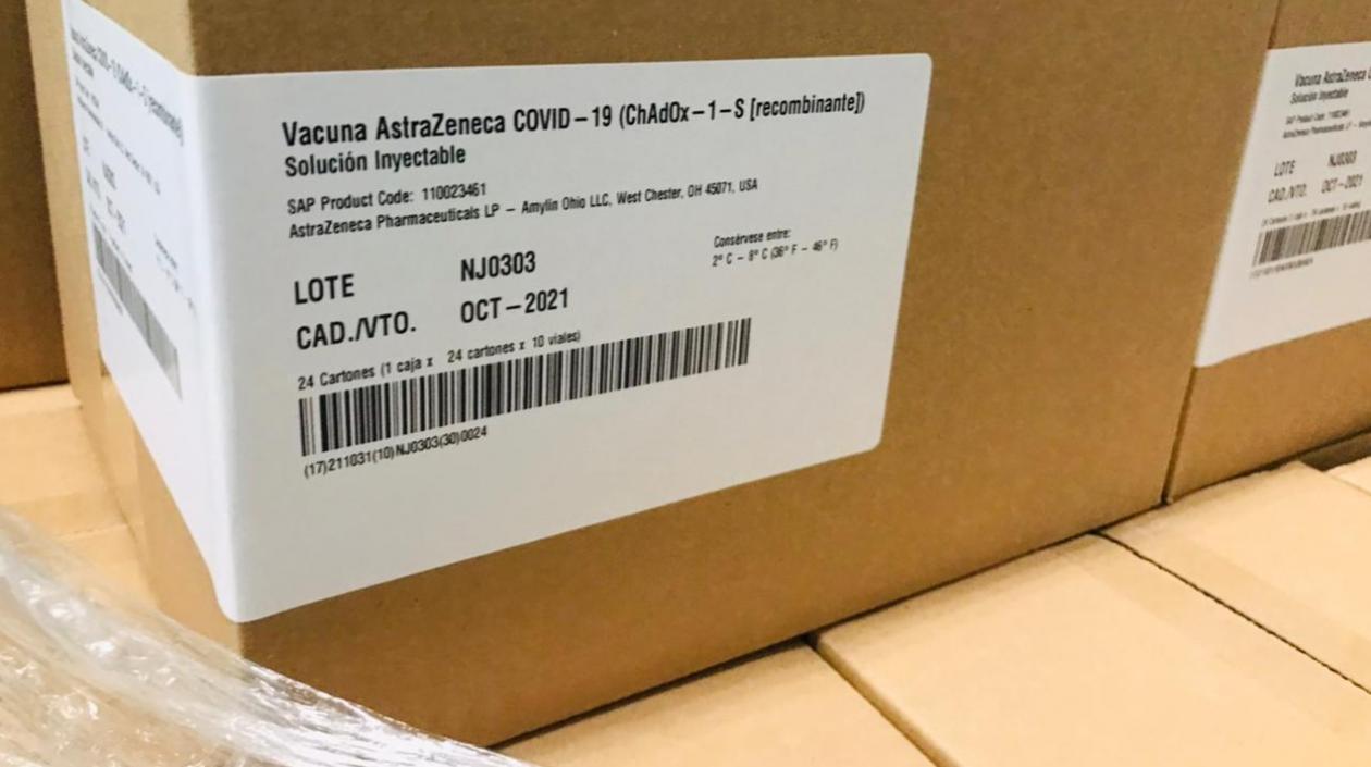 Colombia recibió otras 139.800 dosis de vacunas de AstraZeneca