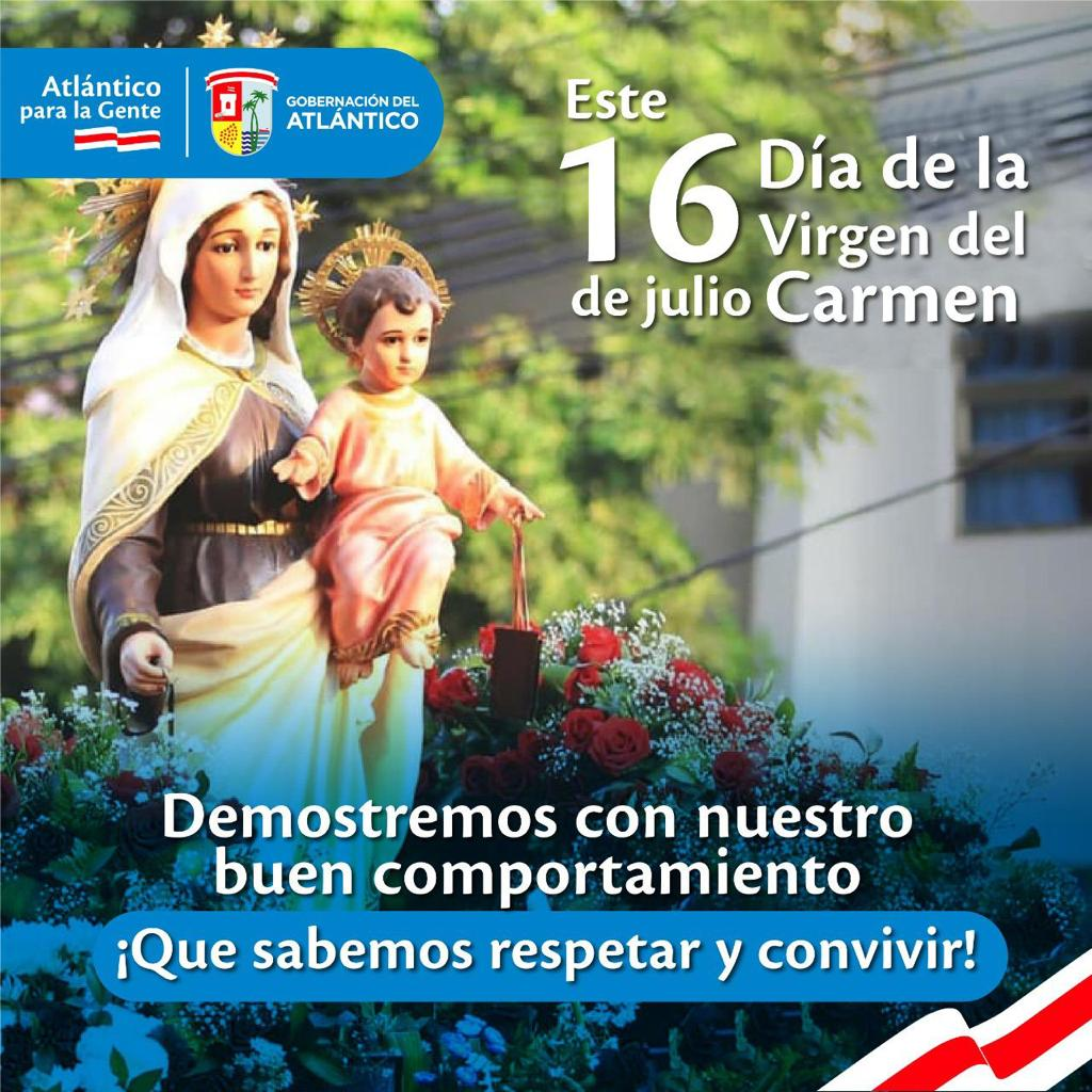Fiesta de la Virgen del Carmen: Gobernación del Atlántico insta a celebrar en sana convivencia