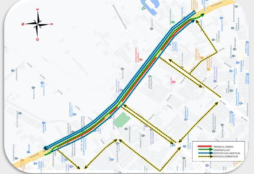Cierre parcial en la Vía 40, entre Carrera 67b y Calle 70 en Barranquilla por construcción de líneas de transmisión de energía – @transitobq