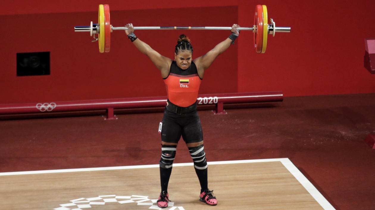 Mercedes Pérez, pesista samaria, terminó cuarta en el levantamiento de pesas