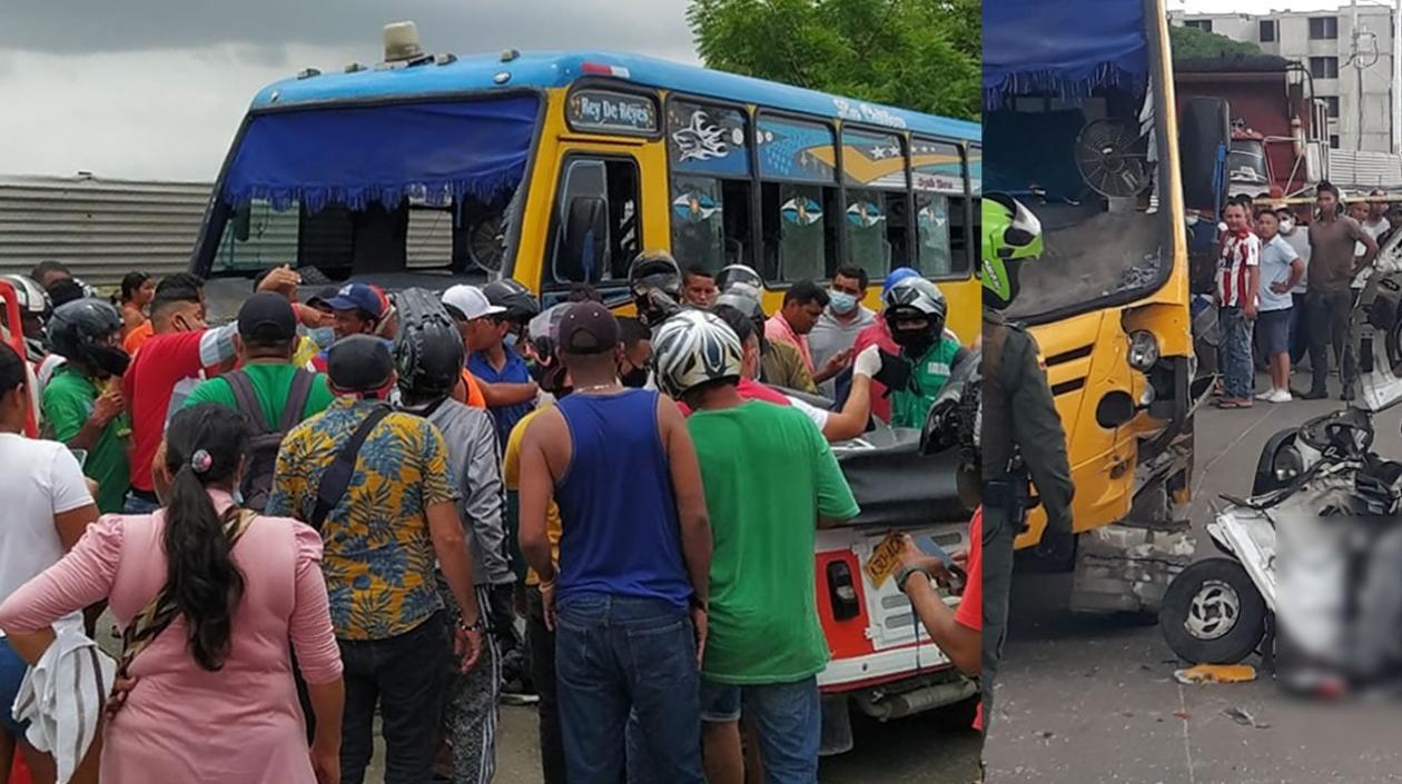 Un muerto y un herido dejó colisión de bus con motocarro en Soledad